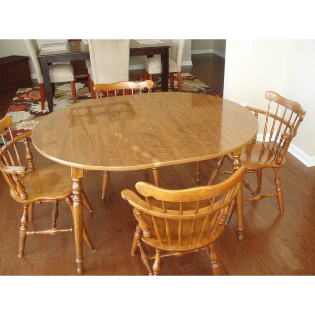 Image of Ethan Allen Solid Wood Dining Table Set