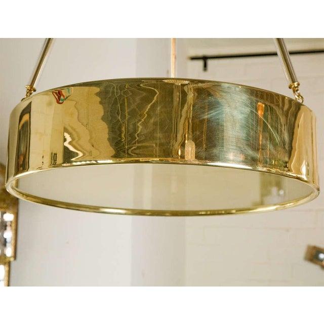 Paul Marra Brass Drum Chandelier - Image 5 of 10