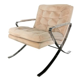 Vintage Milo Baughman Chrome X-Base Lounge Chair