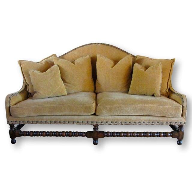 Charles Pollock Chenille Camel Back Sofa Chairish