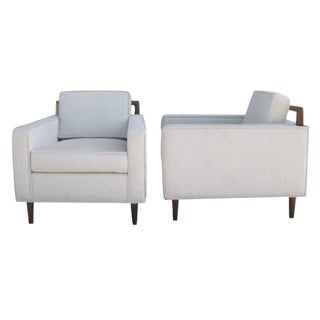 Walnut Club Chairs - A Pair