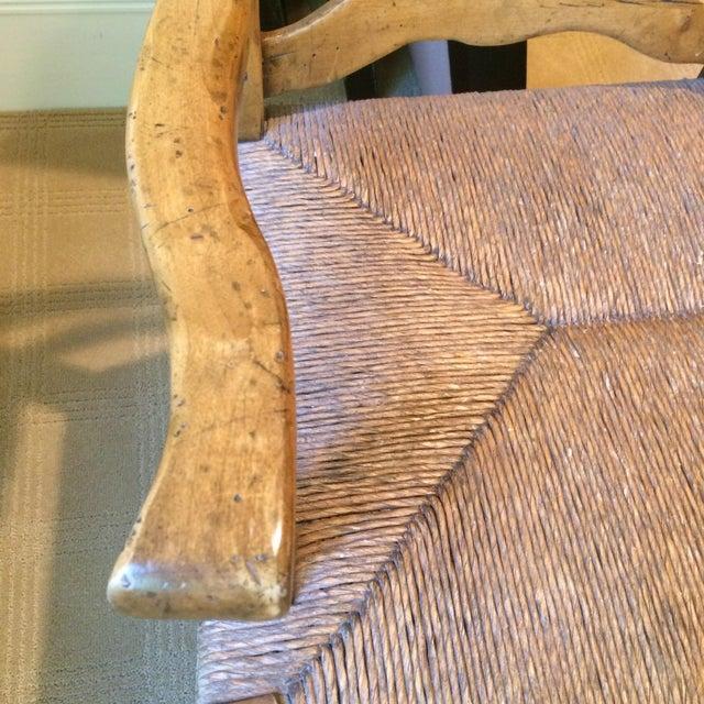french country wood rush seat bench chairish