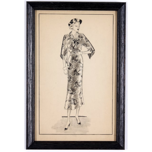Framed Fashion Sketch - Image 2 of 5