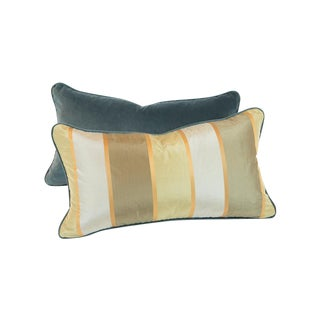 Striped Silk And Teal Velvet Pillows - Pair