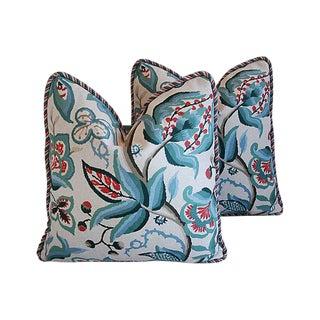 Custom Tailored Schumacher Alexandra Velvet Feather/Down Pillows - Pair