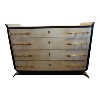 Italian Mid-Century Four Drawer Commode with Brass Arrow Hardware