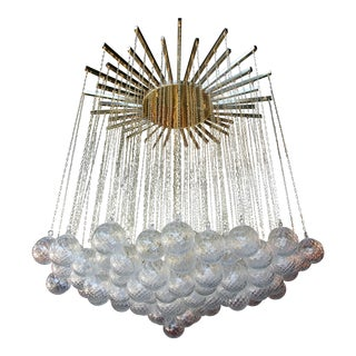 Italian 1970s Brass Bubble Chandelier with Glass Balls on Chains