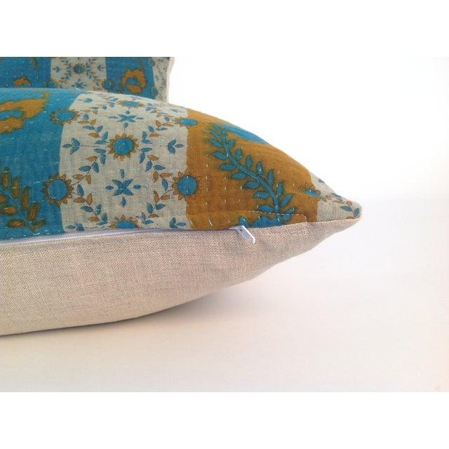 Vintage Block Printed Kantha Quilt Pillows - Pair - Image 4 of 4