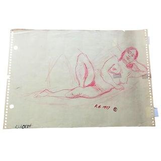1970s Reclining Nude Pencil Sketch