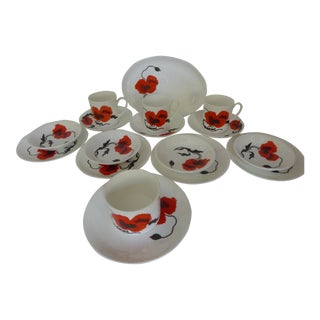 "Susie Cooper for Wedgewood ""Corn Poppy"" Luncheon Sets - Set of 17"