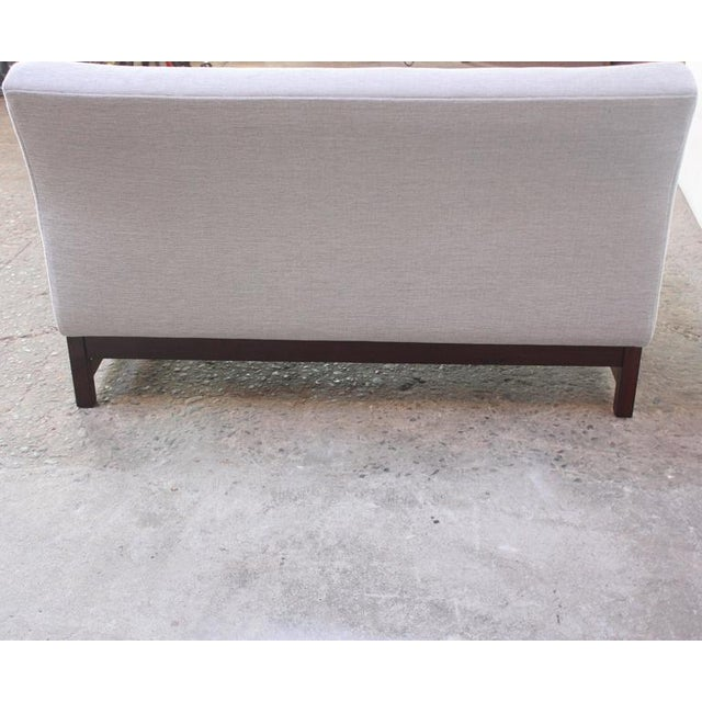 Danish Modern Settee in Chenille and Rosewood - Image 10 of 10