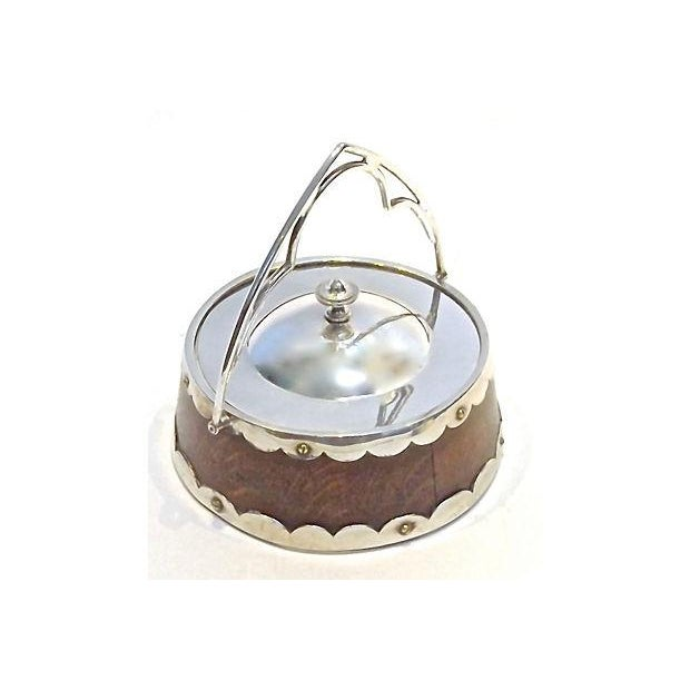 Image of Antique English Gothic Silver & Wood Biscuit Jar