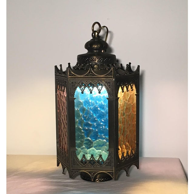 Image of Gothic Brass Swag Lamp with Multi Colored Glass