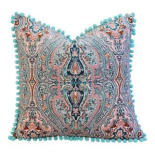 "18"" Custom Tailored Pink/Aqua Paisley Velvet Pom-Pom Feather/Down Pillow"