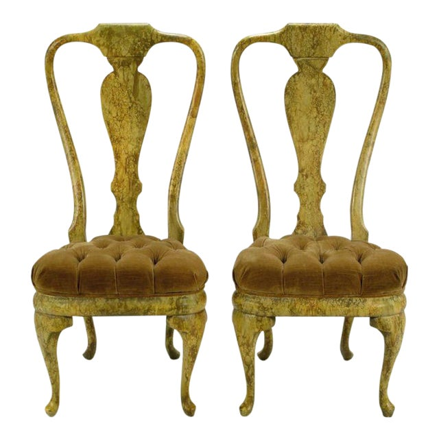 Four Phyllis Morris Oil-Drop Lacquered Queen Anne Chairs - Image 1 of 9