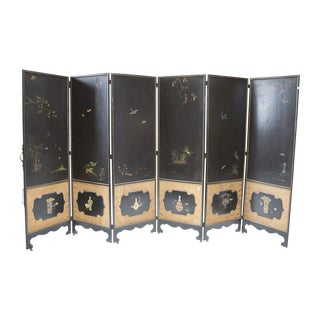 Antique Hand Painted Asian Room Divider