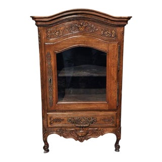 19th Century Country French Carved Walnut Vitrine