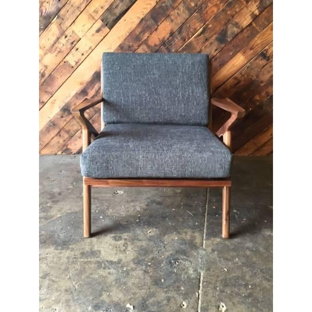 Mid century selig style walnut z chair chairish for Z chair mid century