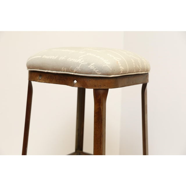 Image of French Upholstered Industrial Stool