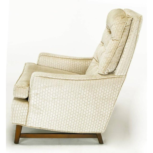 Image of Pair of 1960s High Back Ivory Cut Velvet Lounge Chairs after Harvey Probber