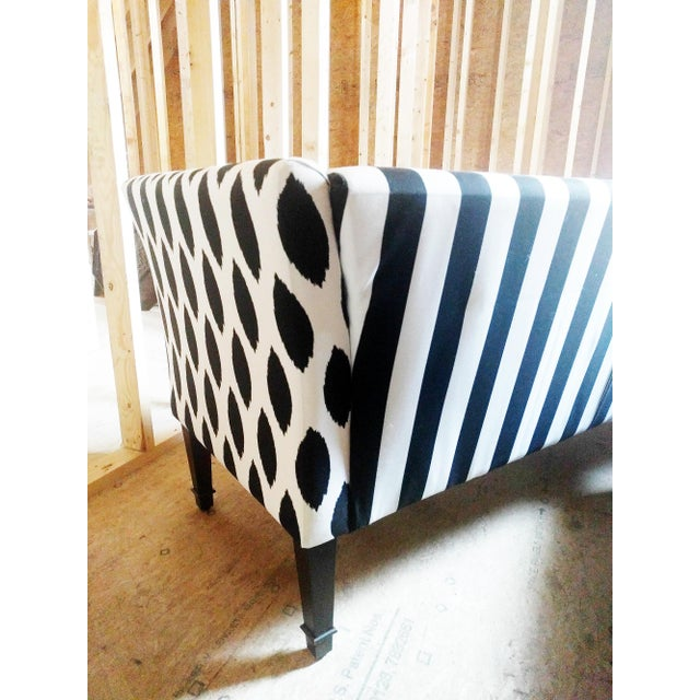 Black & White Stripe Ikat Loveseat - Image 5 of 5