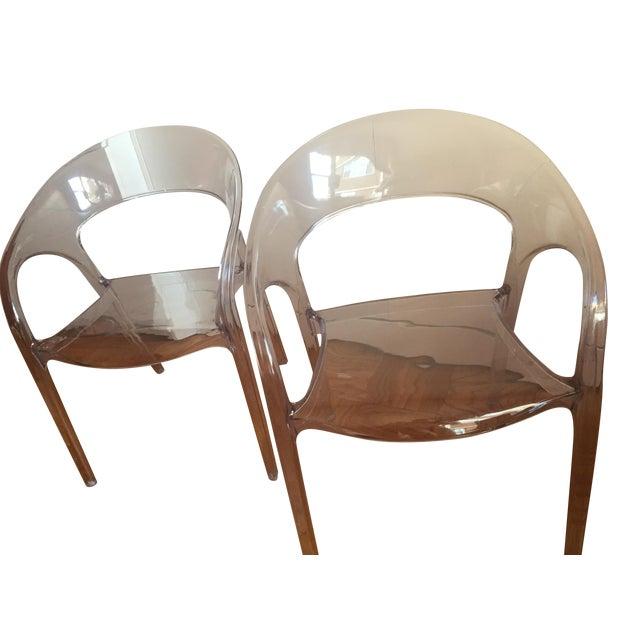 Kessler Round Back Acrylic Dining Chairs Pair Chairish