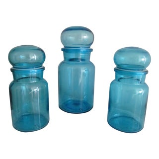 Blue Bubble Top Apothecary Jars - Set of Three