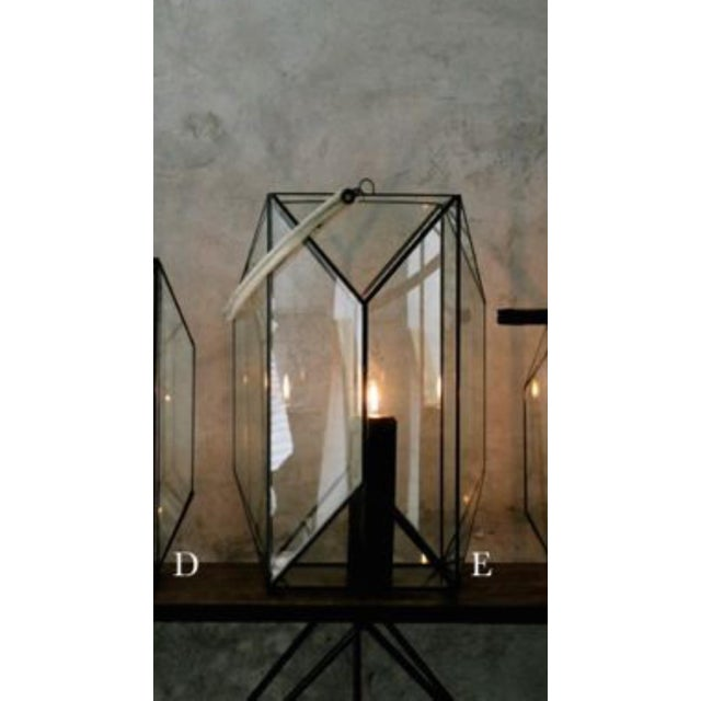 "Faceted 24"" Lantern with Leather Handle - Image 2 of 3"
