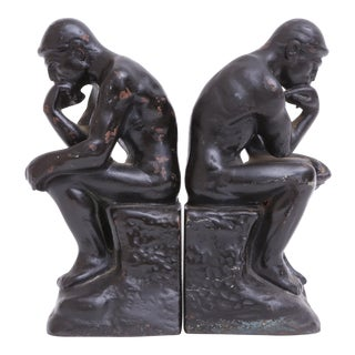 Vintage Thinker Bookends - A Pair
