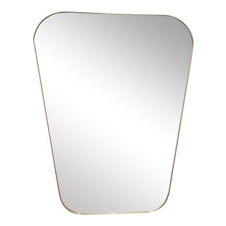 Pair of Rounded Trapezoid Brass Mirrors.