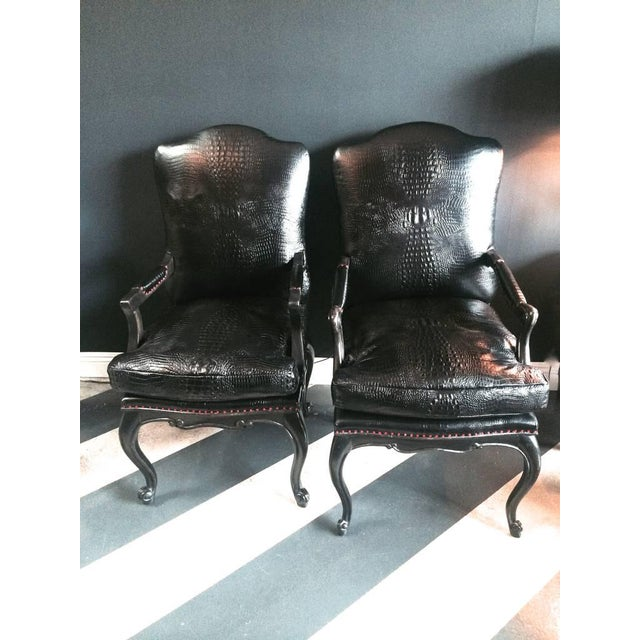 Leather Crocodile Library Chairs - A Pair - Image 2 of 4