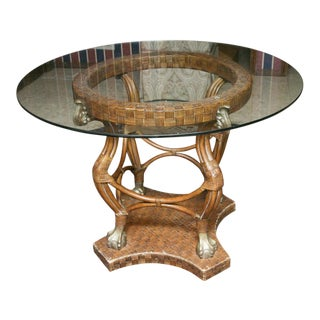 Vintage Bamboo and Glass With Brass Colored Accent Round Table