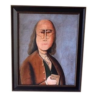 Framed Portrait Painting of Benjamin Franklin