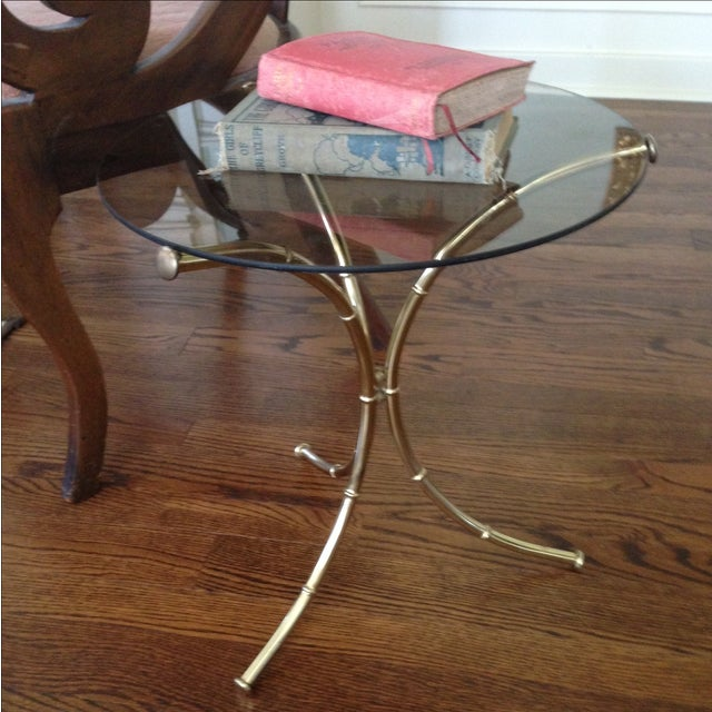 Vintage Faux Bamboo Accent Table - Image 4 of 11