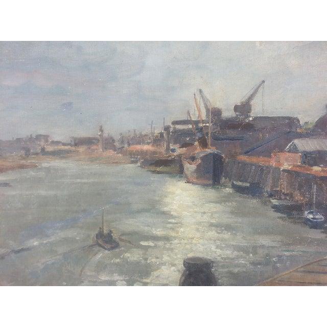 Industrial Mid-Century Dock Scene - Image 3 of 3
