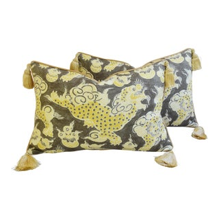 Chinoiserie Gold & Gray-Taupe Dragon Feather/Down Tasseled Pillows - Pair