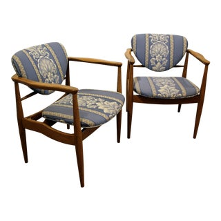 Pair of Mid-Century Danish Modern John Stuart Finn Juhl Walnut Arm Chairs