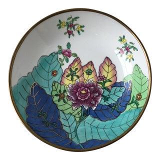 Tobacco Leaf Brass Rim Bowl
