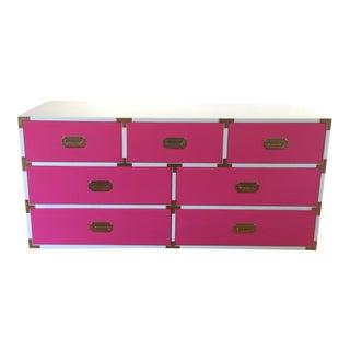 Vintage Bernhardt Hot Pink & White Campaign Dresser