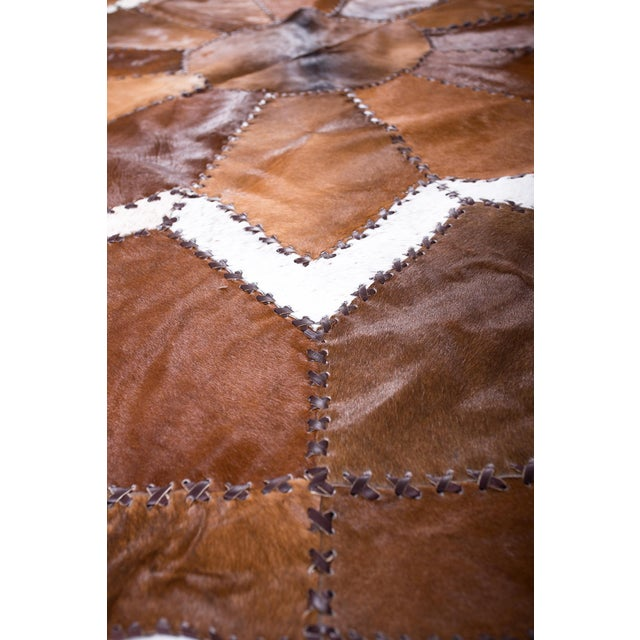 European Design Patchwork Cowhide Rug - 6' X 6' / Hair-On-Hide / Brand New - Image 8 of 10