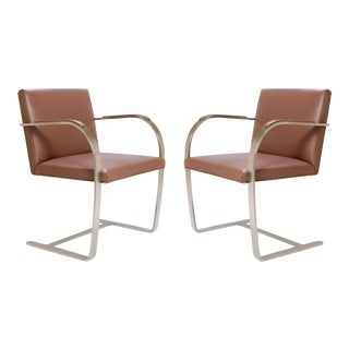 Mies Van Der Rohe for Knoll Cognac Leather Brno Flat-Bar Chairs, Pair