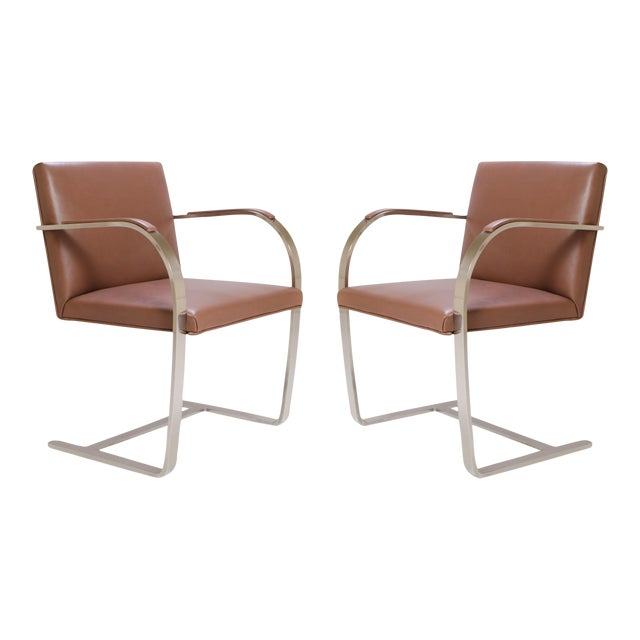 Image of Mies Van Der Rohe for Knoll Cognac Leather Brno Flat-Bar Chairs, Pair