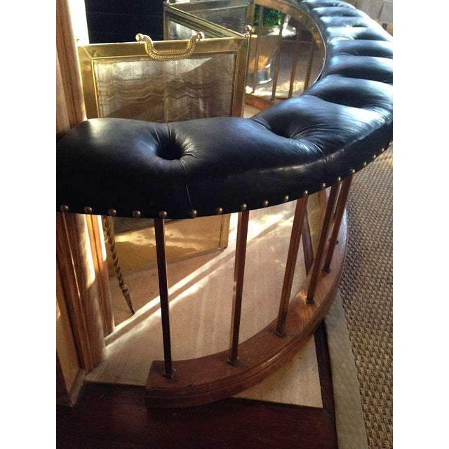 Bow-Shape French Fireside Club Fender with Black Leather Tufted Seat - Image 9 of 9