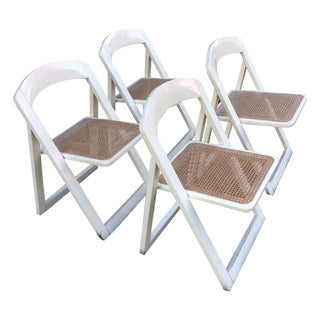 Italian White Lacquer Folding Chairs - Set of 4