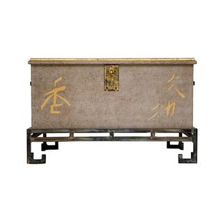 Asian-Inspired Hope Chest on Iron Base