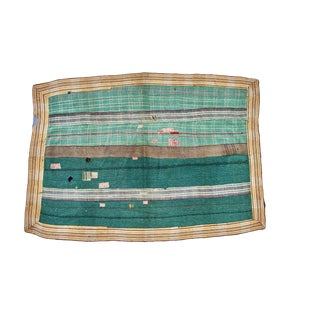 Reversible Hand-Stitched Indian Kantha Throw Blanket
