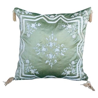 Green Silk Embroidered Accent Pillow