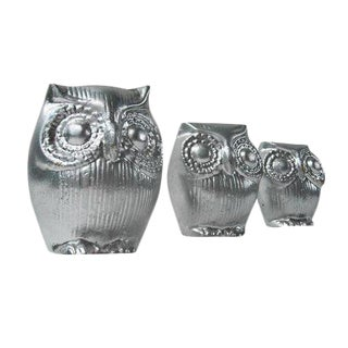 Mid-Century Silver Owl Figurines - Set of 3