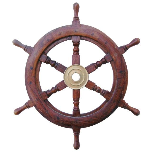 Mahogany & Brass Nautical Boat Ship Steering Wheel - Image 1 of 5