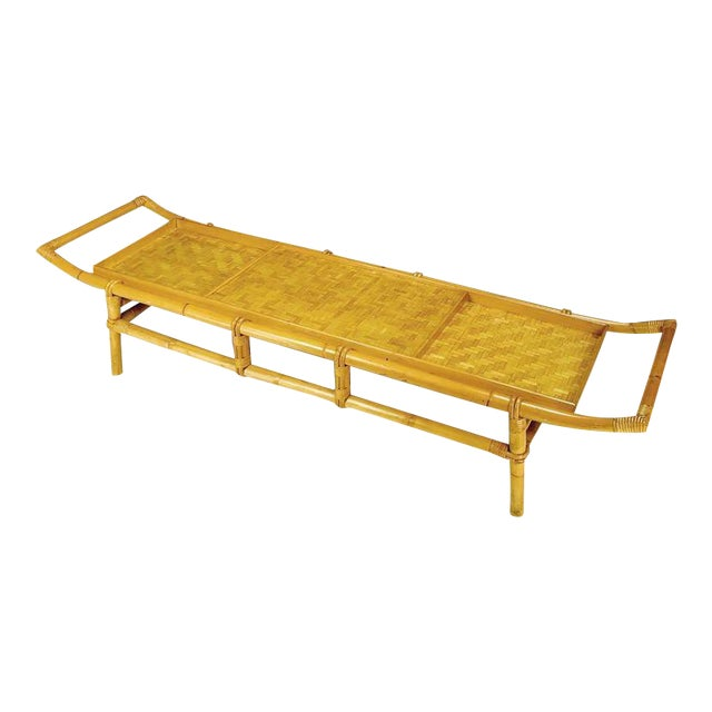 John Wisner Long and Low Pagoda Form Bamboo Coffee Table - Image 1 of 6